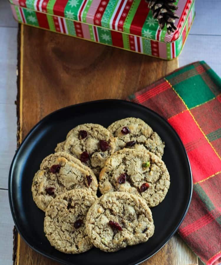vegan cranberry cookies on plate