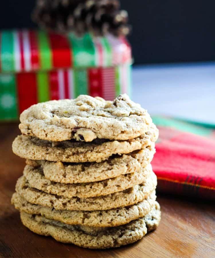 stack of vegan cranberry cookies