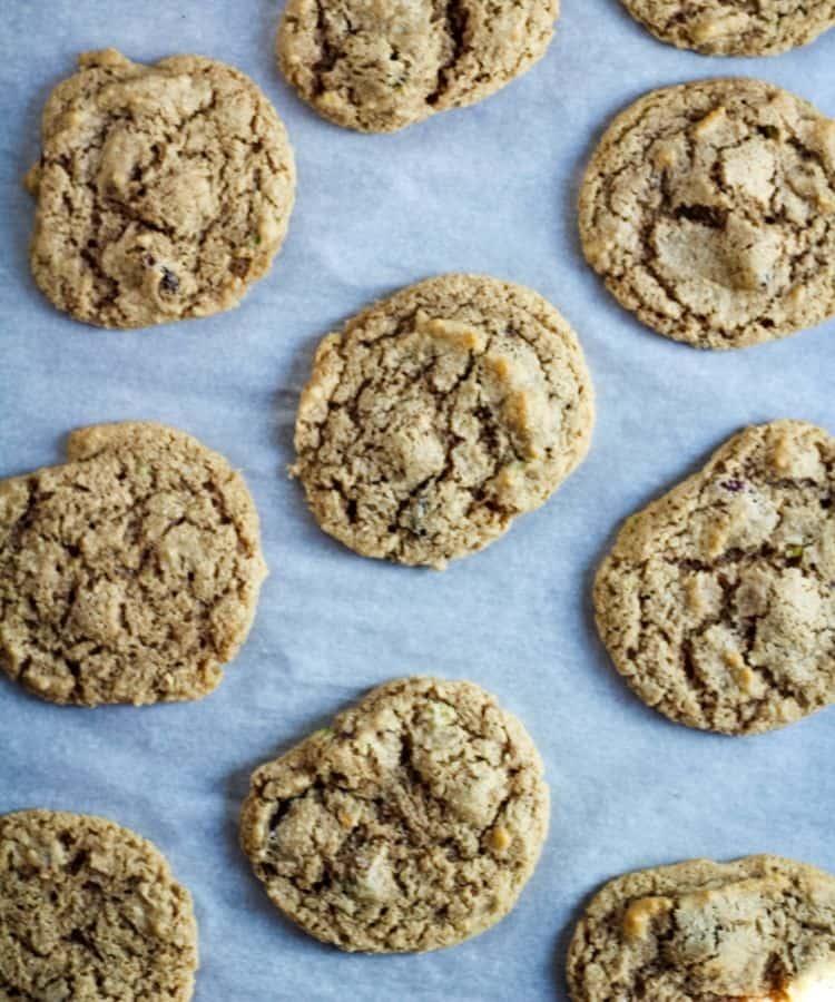 vegan cranberry cookies on baking sheet