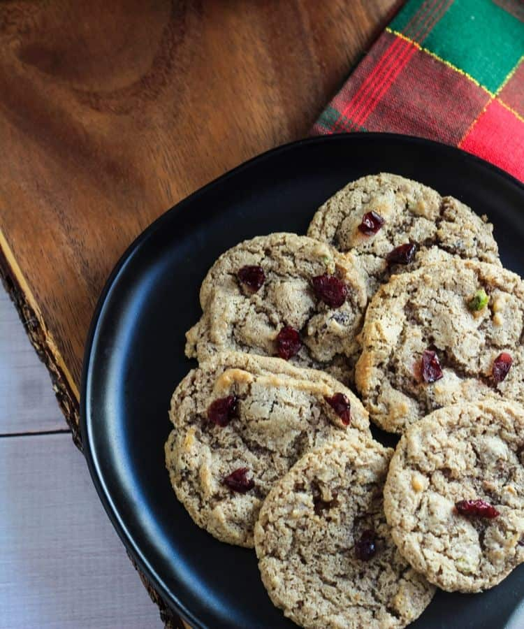 vegan cranberry cookies on plate