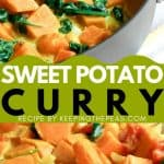 vegan sweet potato curry with spinach in pot
