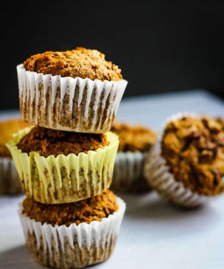 vegan muffins in a stack