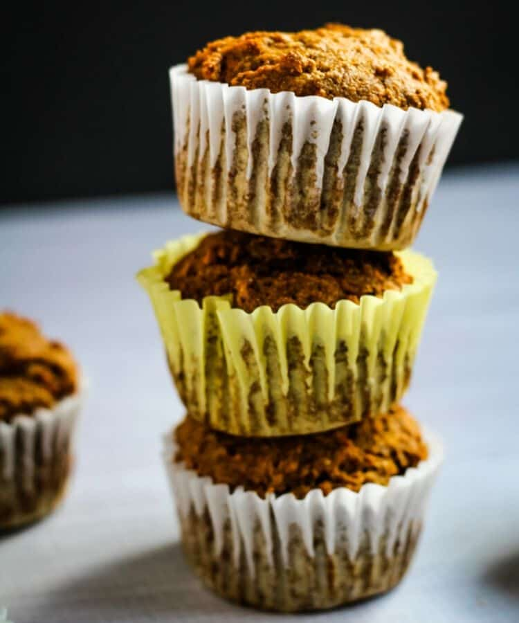 banana carrot muffins stacked