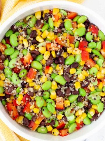 black bean edamame salad with black beans and corn