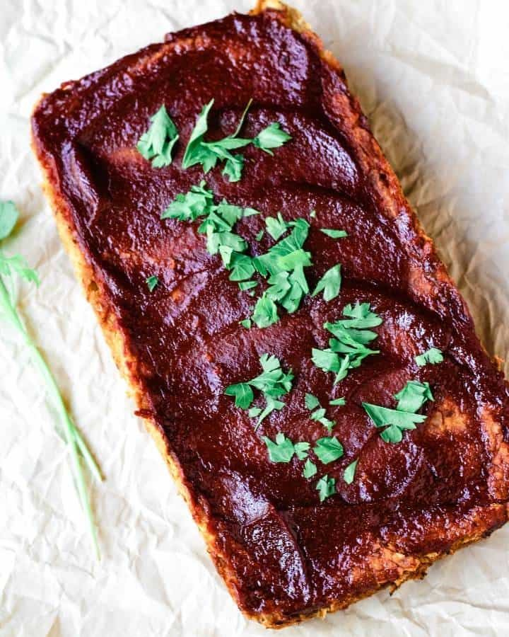 meatless meatloaf overhead topped with parsley