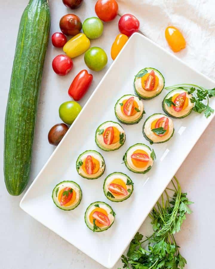 cucumber hummus bites a vegan snack recipe