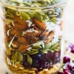 layer trail mix in a jar