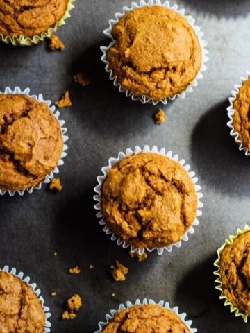 Vegan pumpkin muffins on baking sheet.