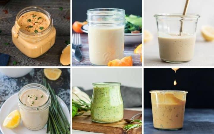 vegan salad dressing collage