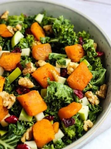 butternut squash kale salad with cranberries