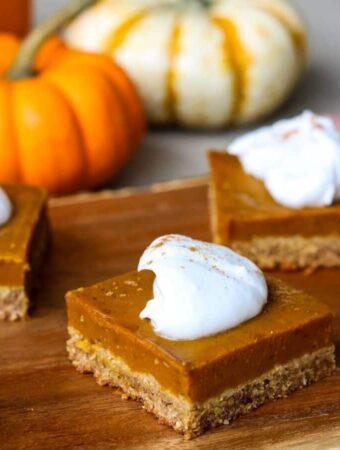 vegan gluten-free pumpkin pie bars