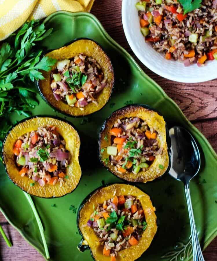 plant-based Christmas dinner: vegan acorn squash and wild rice stuffing