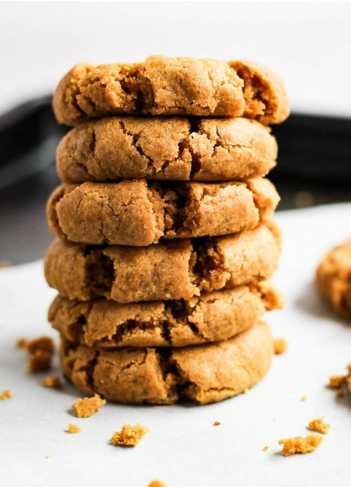 Stack of almond flour peanut butter cookies.