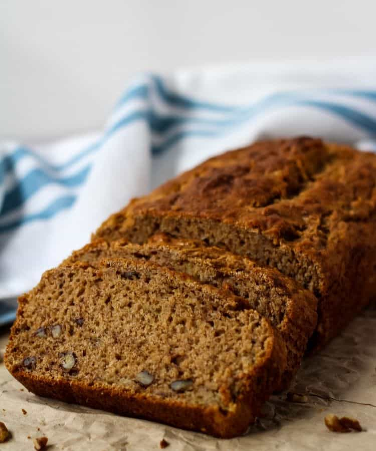 banana bread loaf with white and blue towel