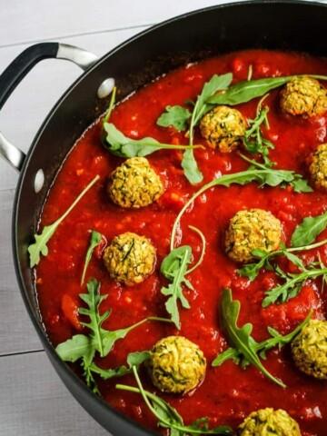 vegan chickpea meatballs in saucepan