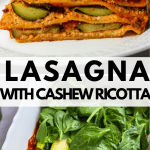 gluten free vegan lasagna with cashew ricotta