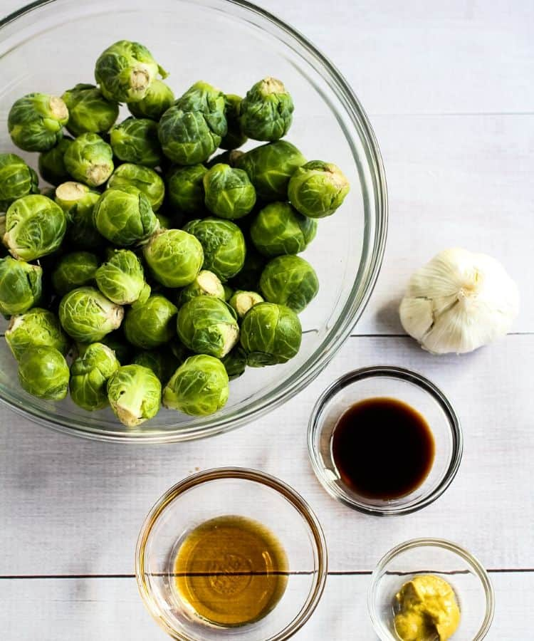 brussel sprouts, soy sauce, garlic, dijon mustard, and maple syrup