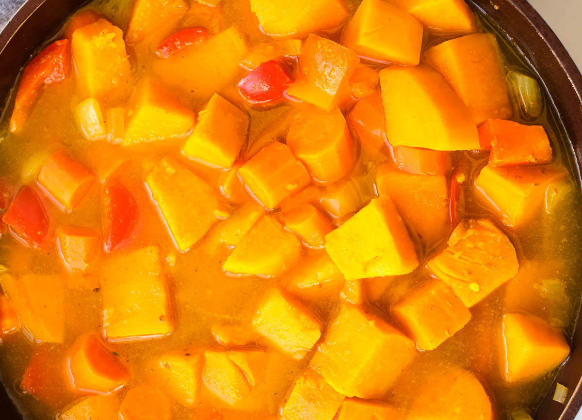 sweet potato and red pepper soup in pot