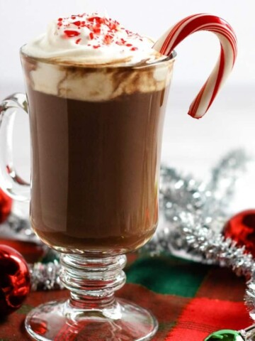 vegan hot chocolate in mug with candy cane