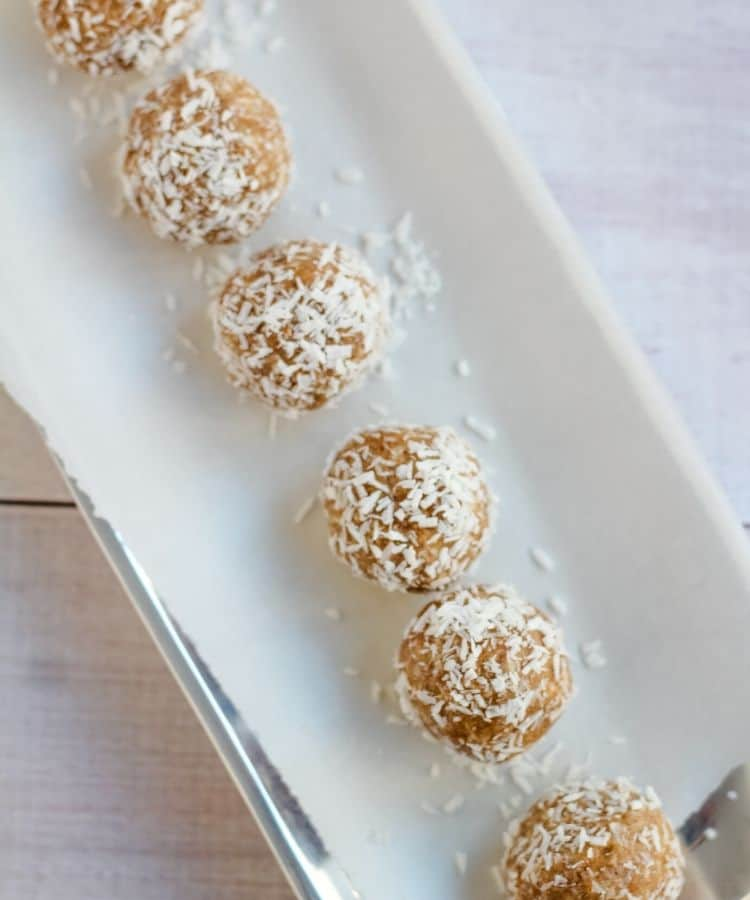 vegan snowball cookies on a platter