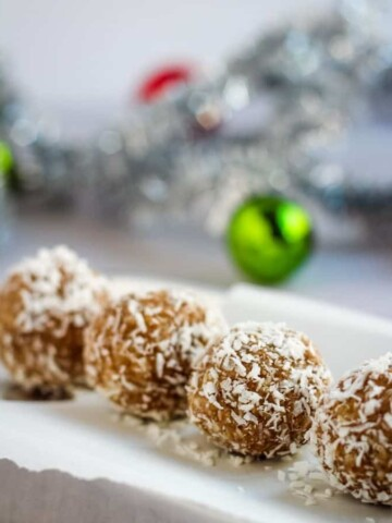 vegan snowball cookies on platter