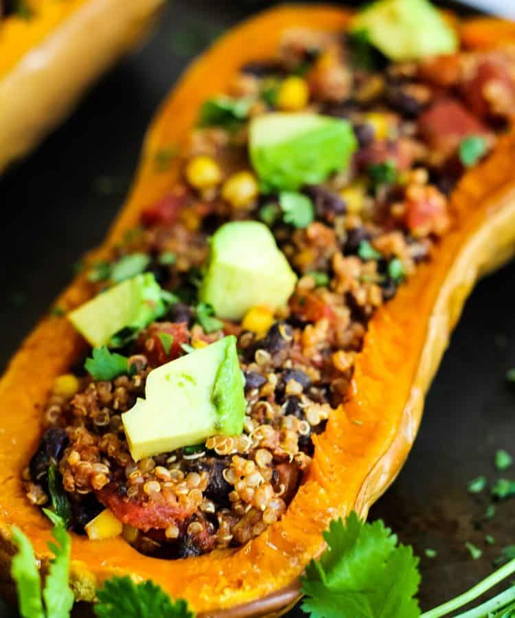 vegan stuffed butternut squash with avocado
