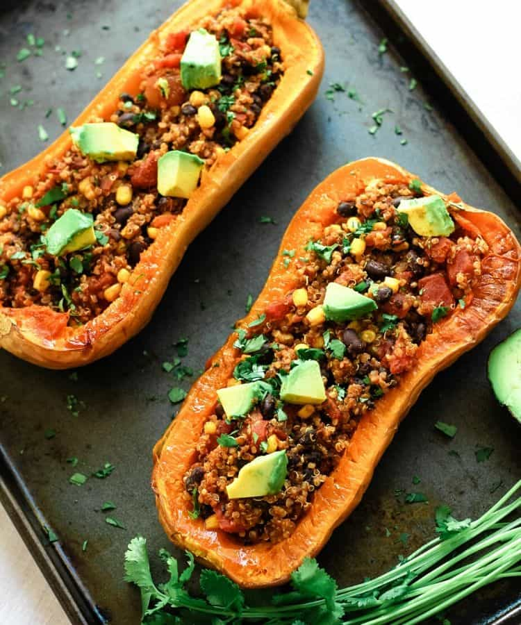 Vegan Stuffed Butternut Squash With Black Beans And Quinoa