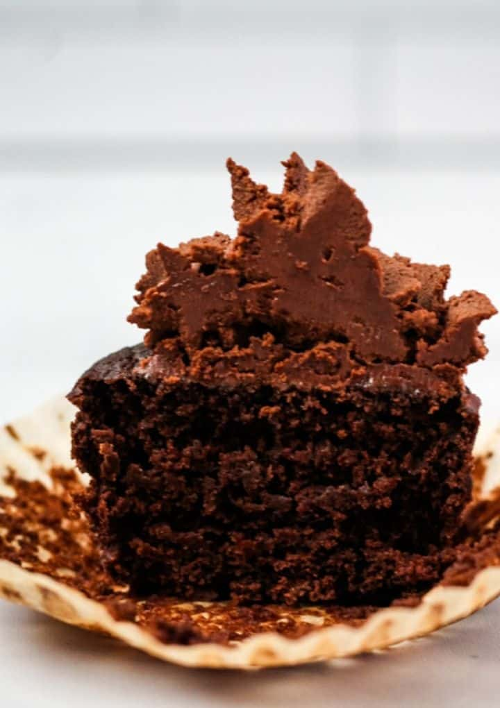 chocolate vegan cupcake cut in half