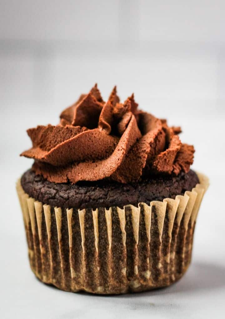chocolate vegan cupcake with chocolate frosting