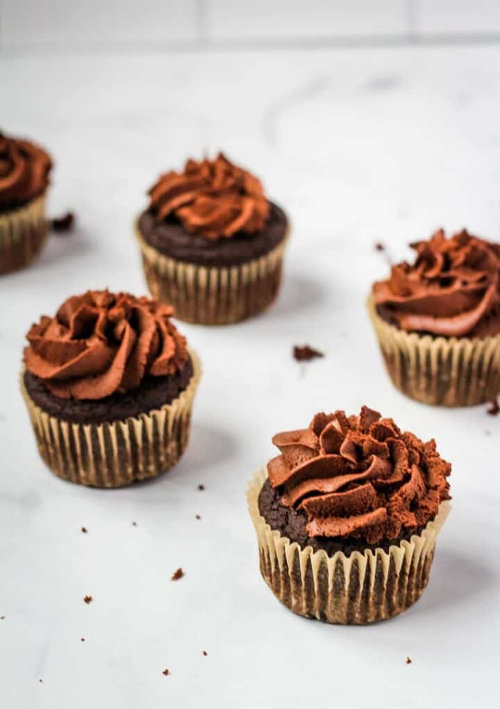 chocolate vegan cupcakes on marble counter