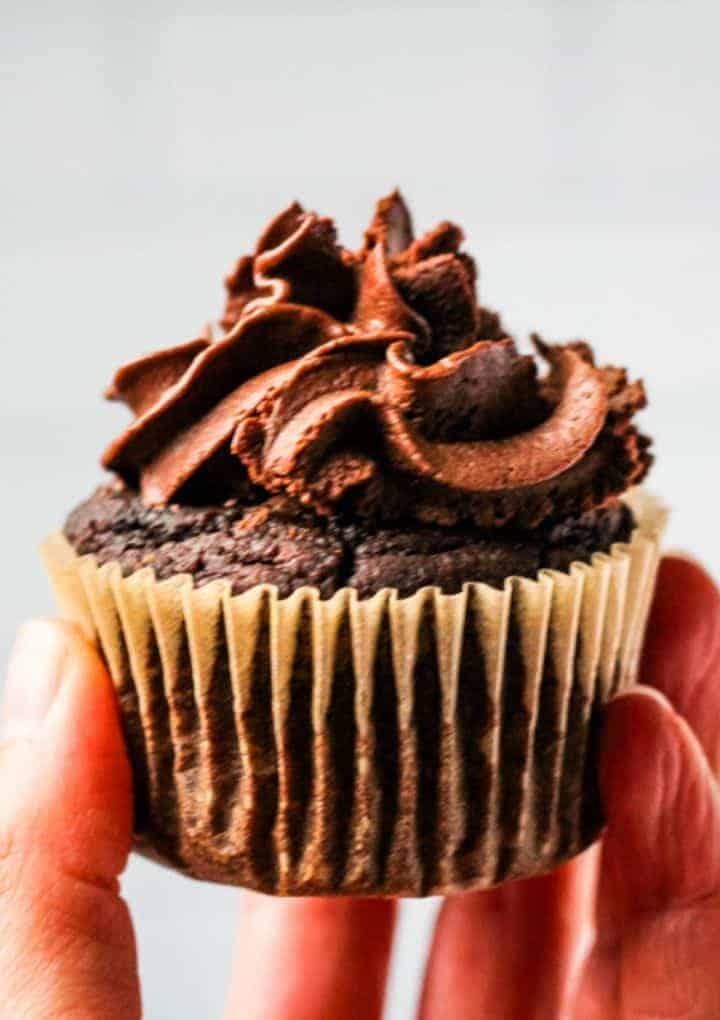 chocolate vegan cupcakes in hand