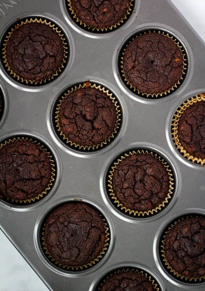 chocolate vegan cupcakes out of the oven