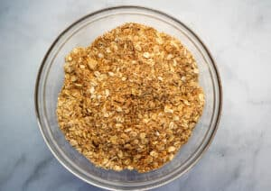 oats, sugar, and flour in mixing bowl