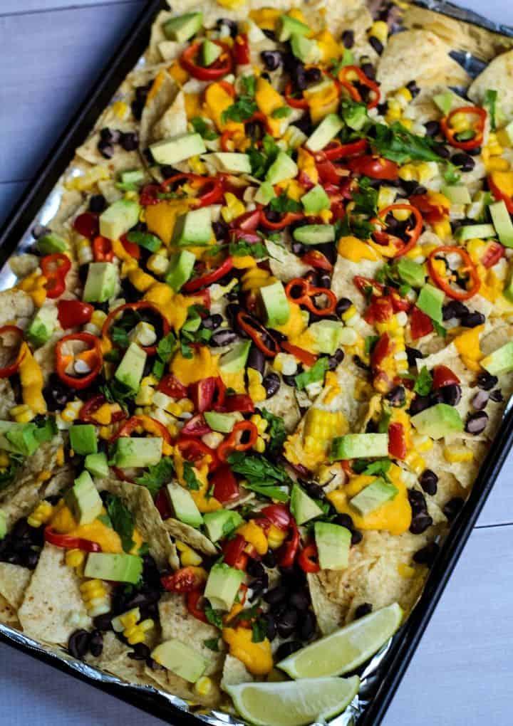 vegan nachos on sheet pan