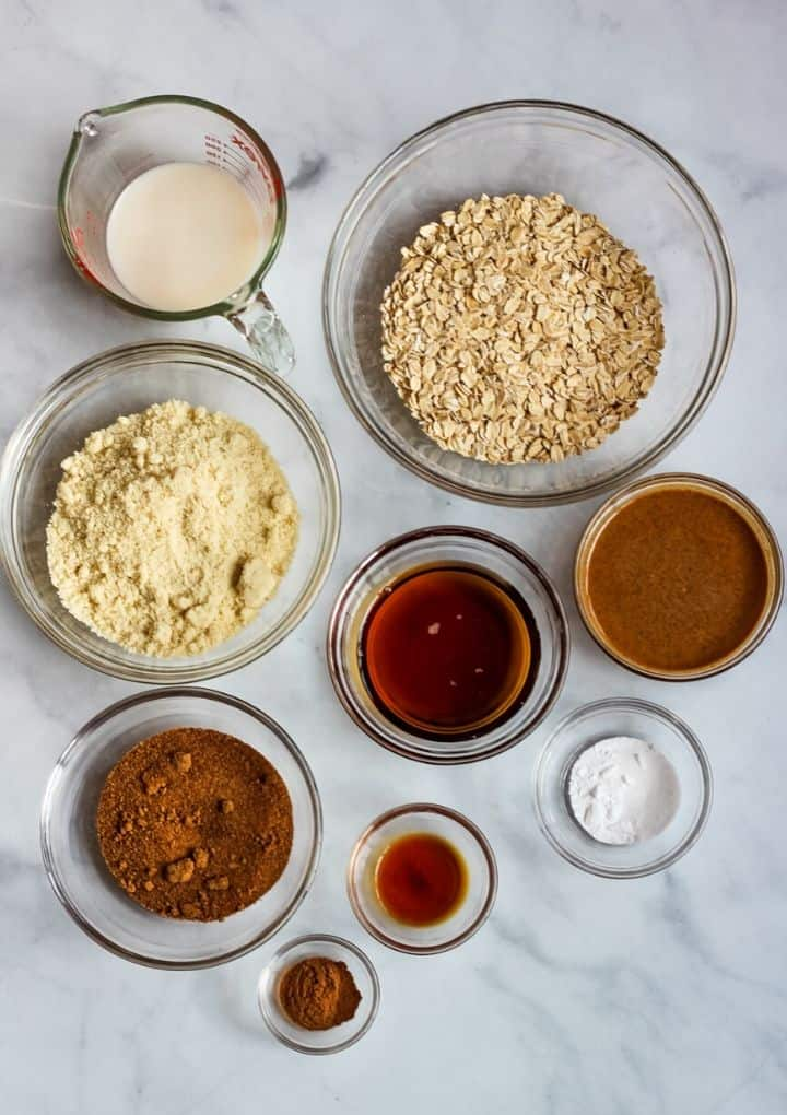 ingredients in bowls to make oatmeal cookies