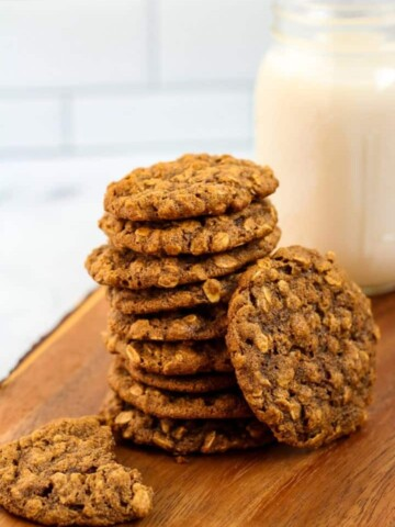 vegan oatmeal cookies and glass of almond milk