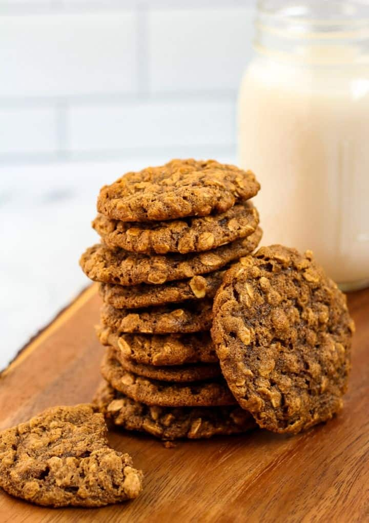 vegan oatmeal cookies and glass of almond milk