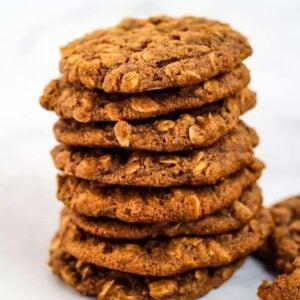 vegan oatmeal cookies in a stack