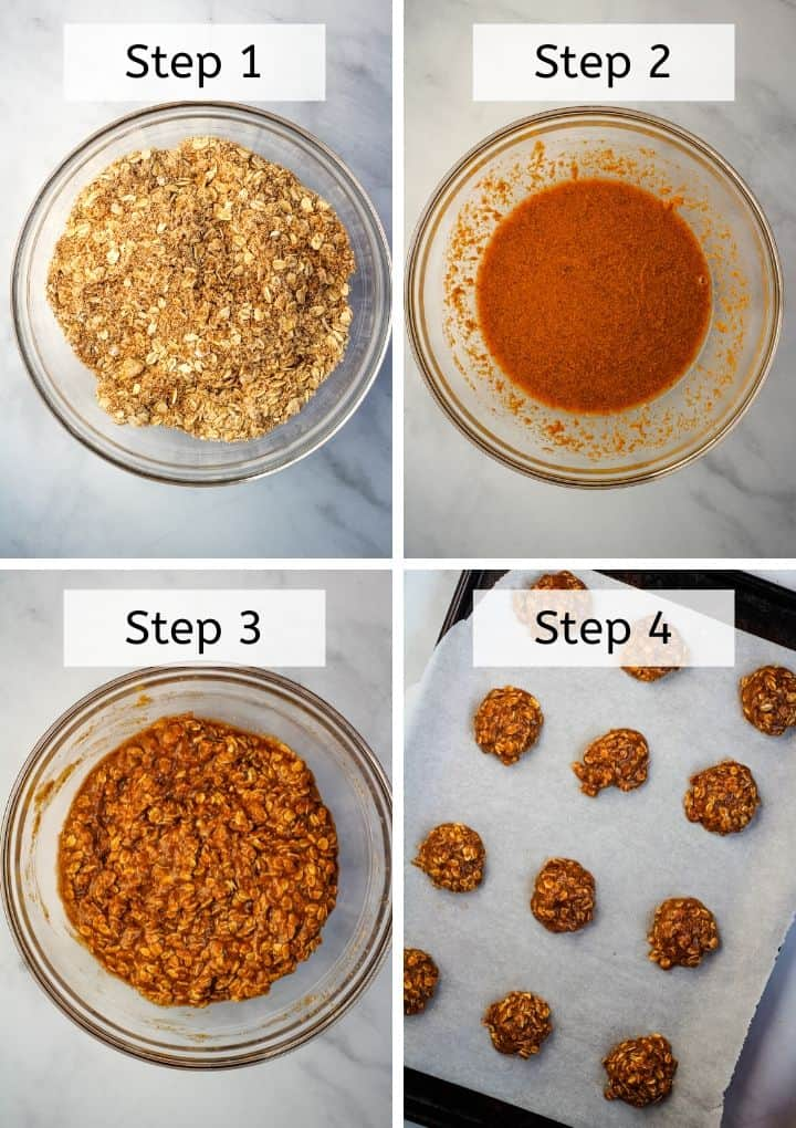 steps 1-4 of mixing ingredients to make oatmeal cookies