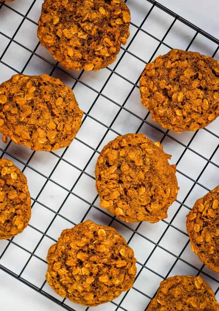 vegan oatmeal cookies on cooling rack