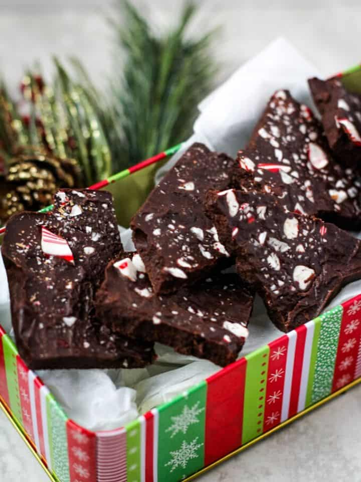 peppermint bark in tin