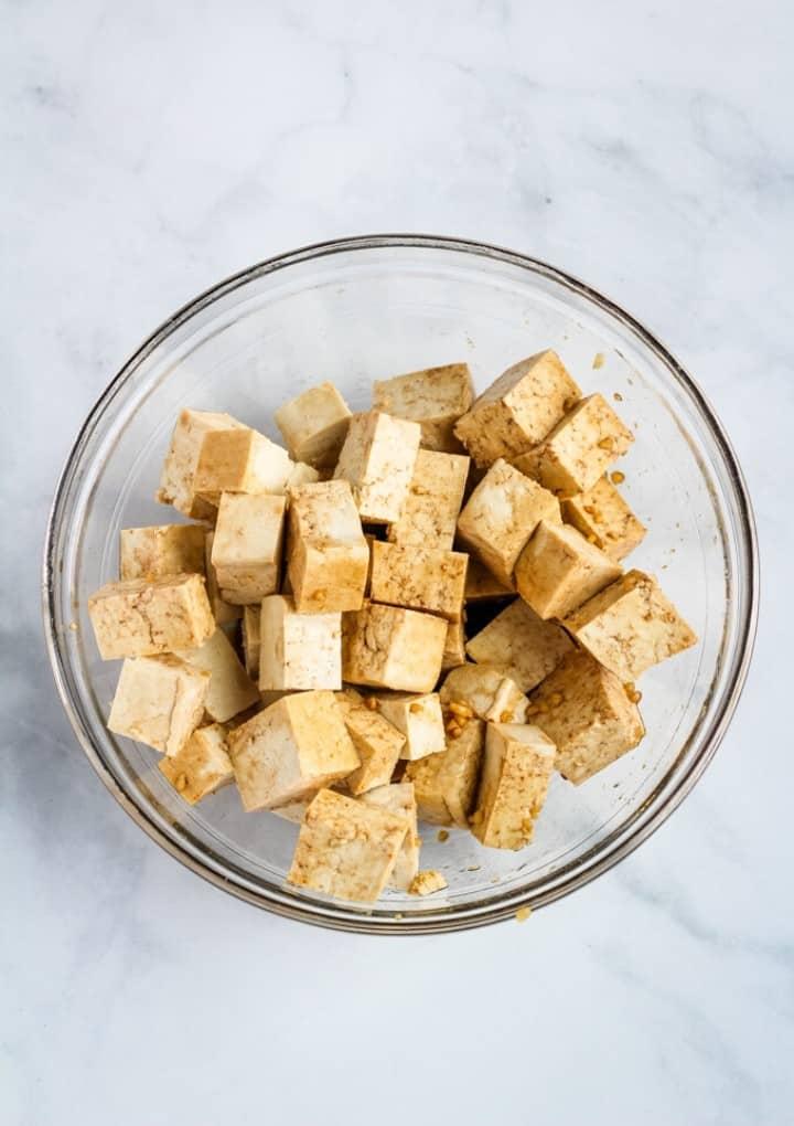 marinated tofu in bowl