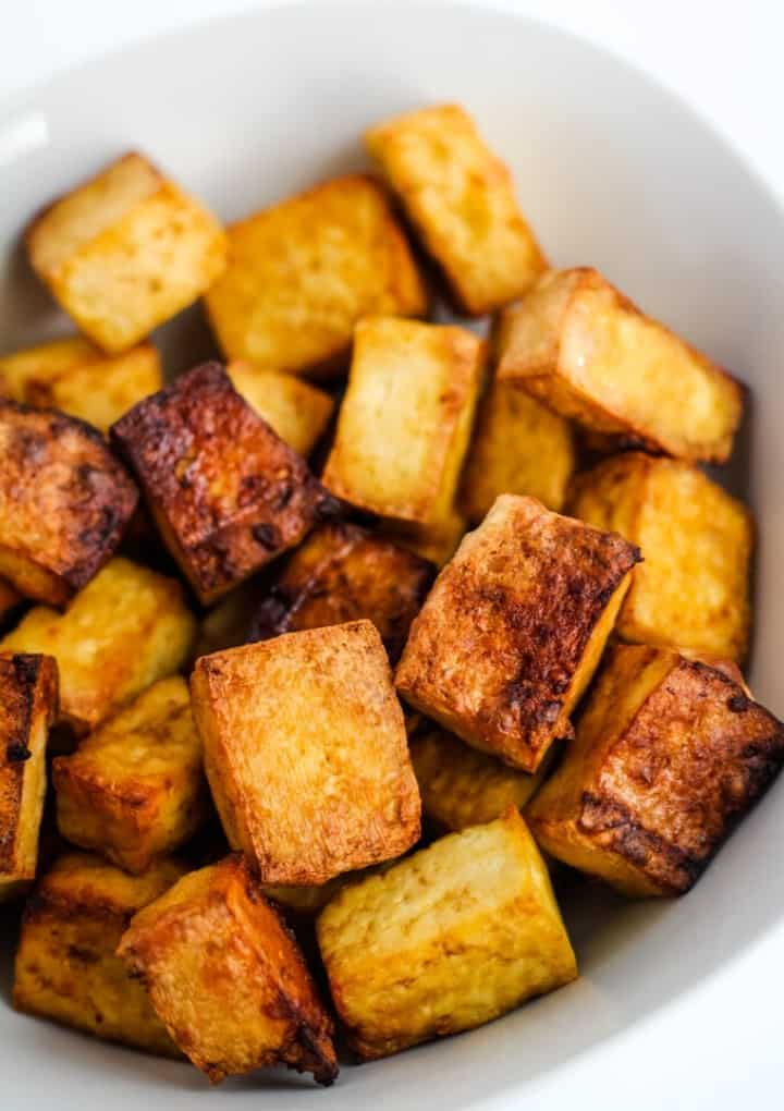 air fryer tofu in bowl
