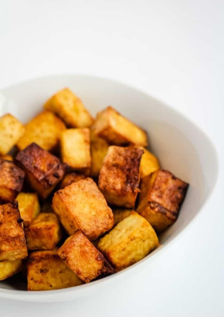 air fryer tofu in bowl