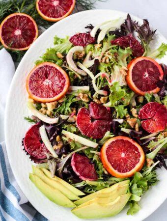 overhead blood orange salad