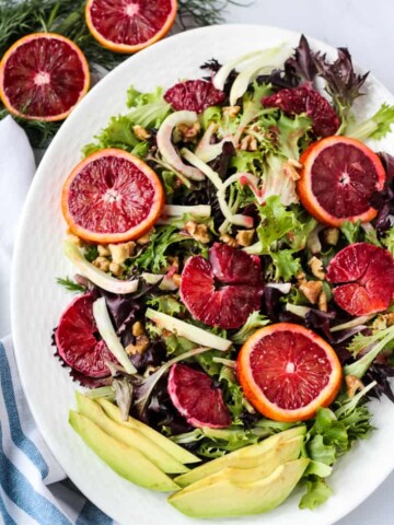 overhead blood orange salad