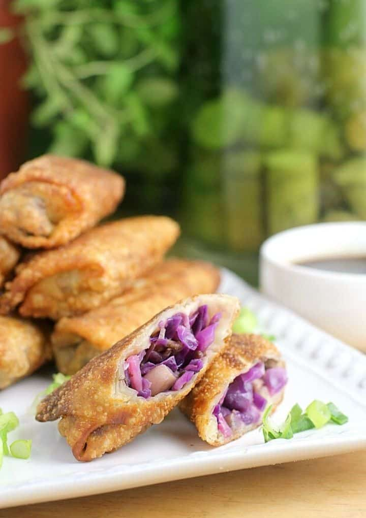 red cabbage spring rolls