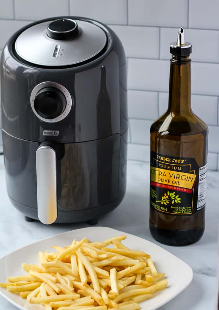 air fryer, frozen french fries, olive oil