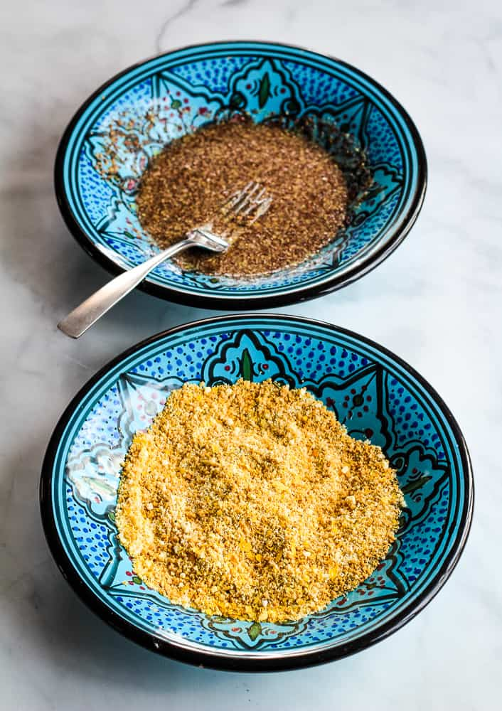 breadcrumbs and flax egg in shallow bowels