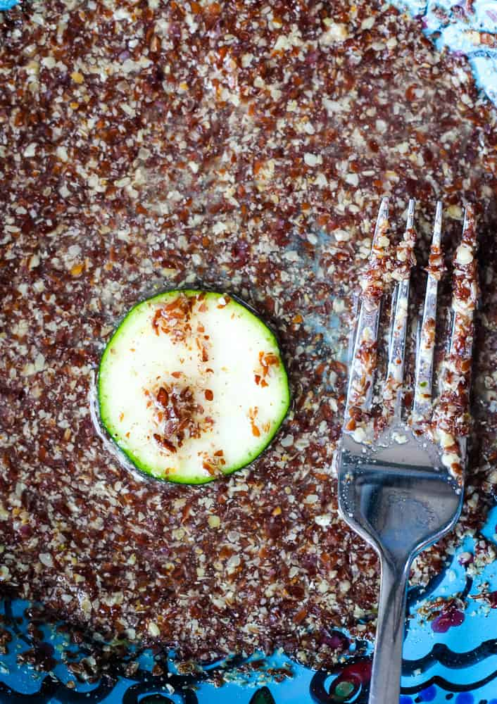 zucchini dredged in flax egg